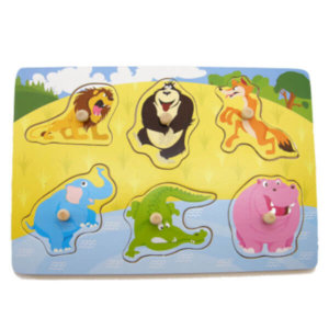 JUNGLE ANIMALS WOODEN PEG PUZZLE