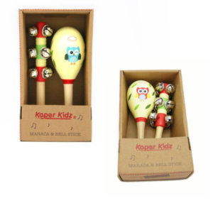 OWL MARACA AND BELL STICK SET