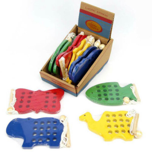 WOODEN ANIMAL LACING TOYS