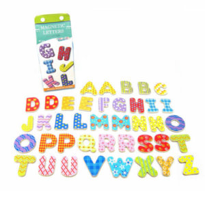 WOODEN MAGNETIC LETTERS IN MILK CARTON