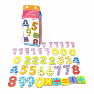 WOODEN MAGNETIC NUMBERS IN MILK CARTON