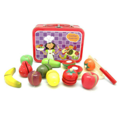 WOODEN FRUIT CUTTING SET IN CARRY CASE