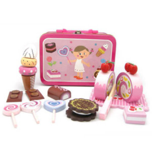 WOODEN SWEET TREATS SET IN CARRY CASE