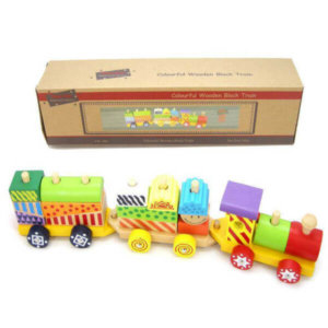 WOODEN TRAIN WITH COLOURFUL BLOCKS