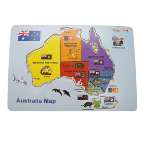 MAP OF AUSTRALIA WOODEN TRAY PUZZLE
