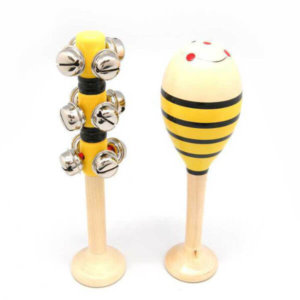 WOODEN BEE MARACA WITH BELL STICK