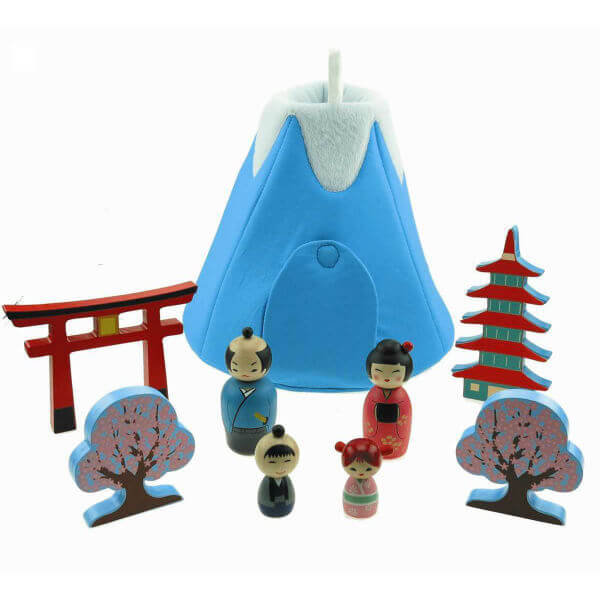 JAPANESE PLAYSET WITH FABRIC HOUSE by KAPER KIDZ