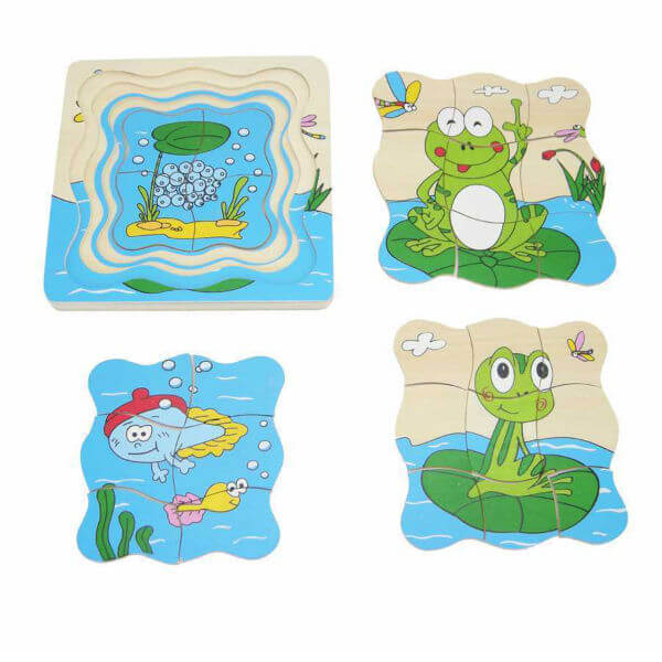 FROG LIFE CYCLE WOODEN LAYER PUZZLE