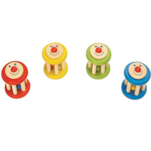 SMILEY FACE WOODEN RATTLE