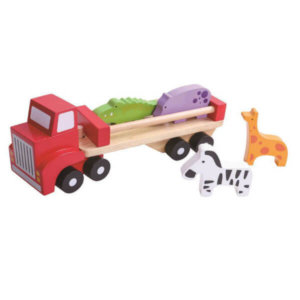 ZOO ANIMALS WOODEN TRUCK