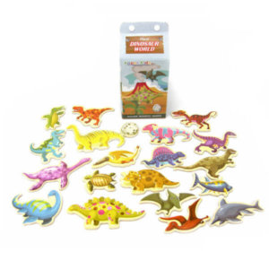 DINOSAUR WOODEN FRIDGE MAGNETS IN MILK CARTON