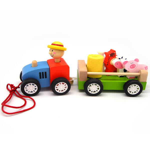 PULL ALONG TRACTOR WITH FARM ANIMALS