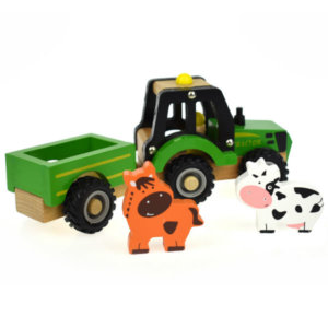 WOODEN TRACTOR WITH TRAILER AND FARM ANIMALS