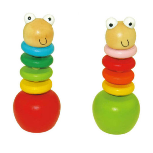 HAPPY WORM WOODEN PUSH UP PUPPET