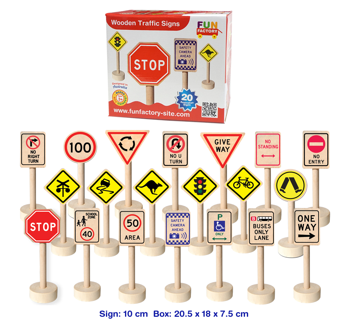 WOODEN TRAFFIC SIGNS by FUN FACTORY