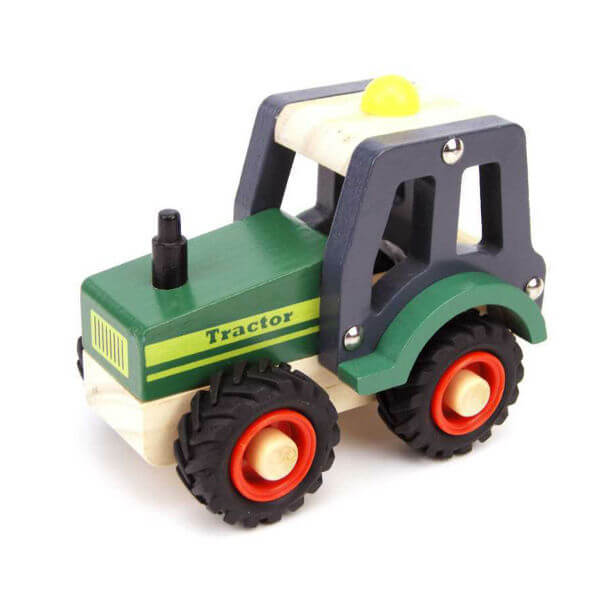 GREEN WOODEN TRACTOR WITH RUBBER WHEELS