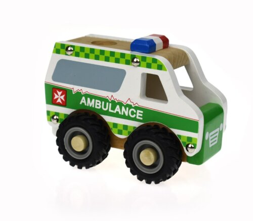 New Wooden Ambulance Green with Rubber wheels