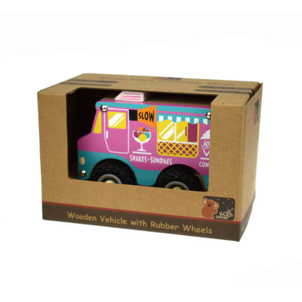 PINK WOODEN ICE CREAM TRUCK WITH RUBBER WHEELS