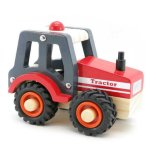 RED WOODEN TRACTOR WITH RUBBER WHEELS