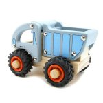 WOODEN DUMP TRUCK WITH RUBBER WHEELS