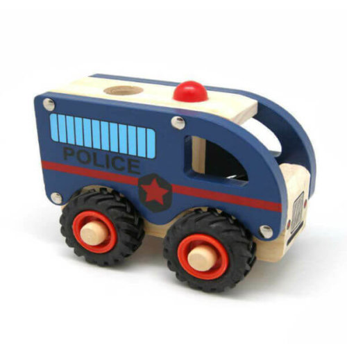 WOODEN POLICE CAR WITH RUBBER WHEELS