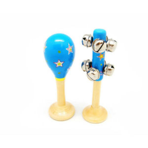 SMALL BLUE WITH STARS MARACA AND BELL STICK SET