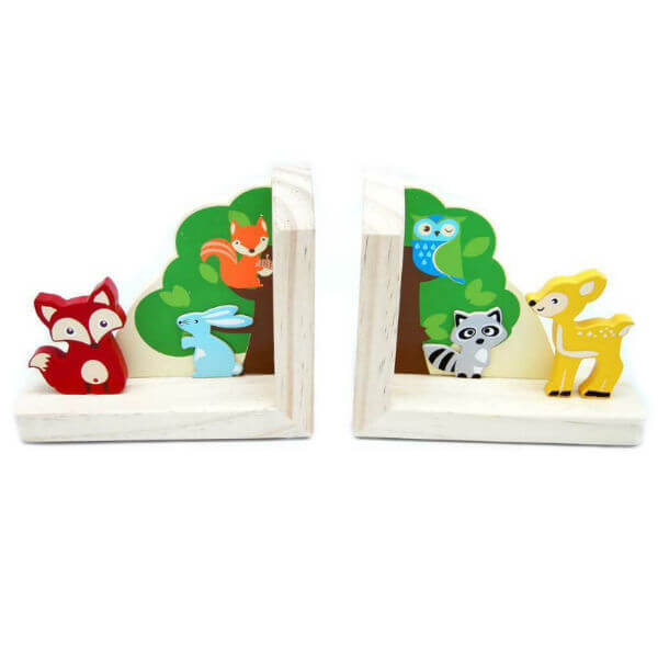 FOREST FRIENDS WOODEN BOOKENDS