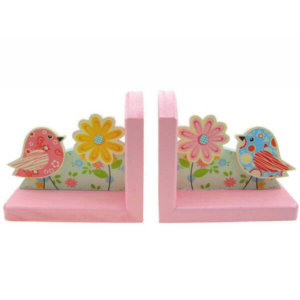 PINK WOODEN BOOKENDS WITH BIRDS