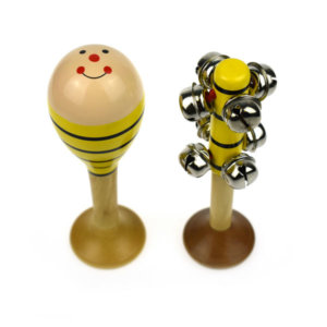 SMALL BEE MARACA AND BELL STICK SET