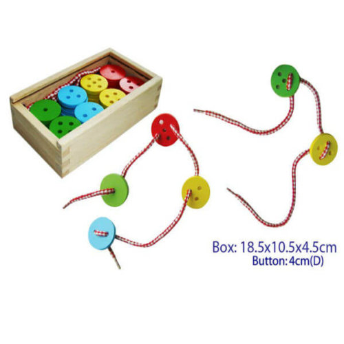 WOODEN LACING BUTTONS IN BOX