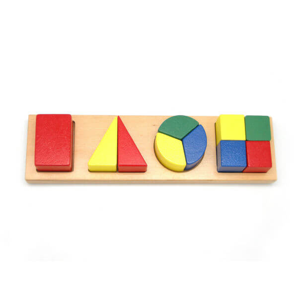 CHUNKY WOODEN SHAPE AND FRACTION PUZZLE