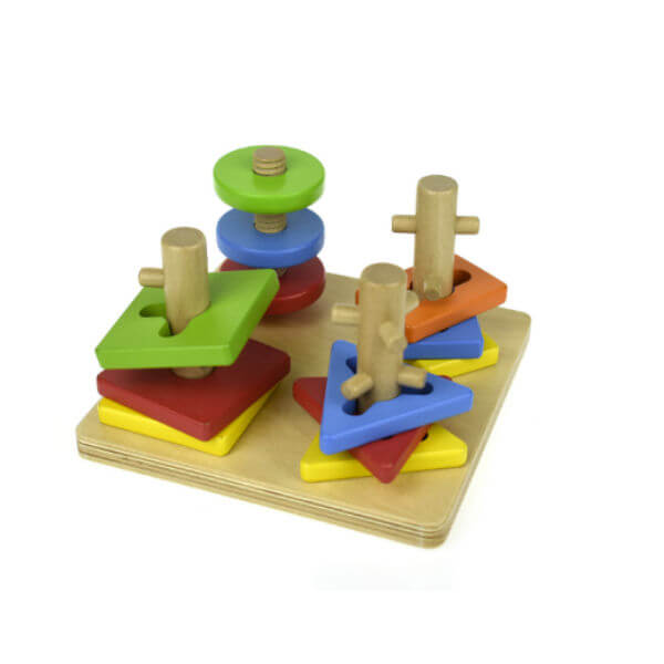 GEOMETRIC WOODEN ROTATE A SHAPE TOY