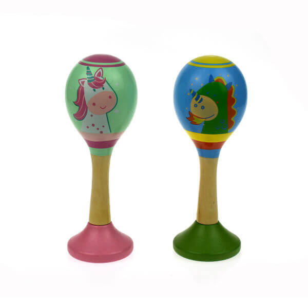 UNICORN AND DRAGON WOODEN MARACAS