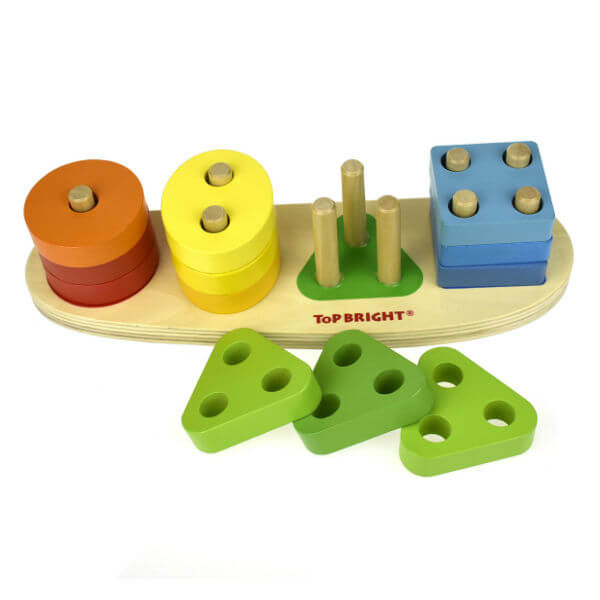 WOODEN NUMBER AND SHAPE STACKING BOARD