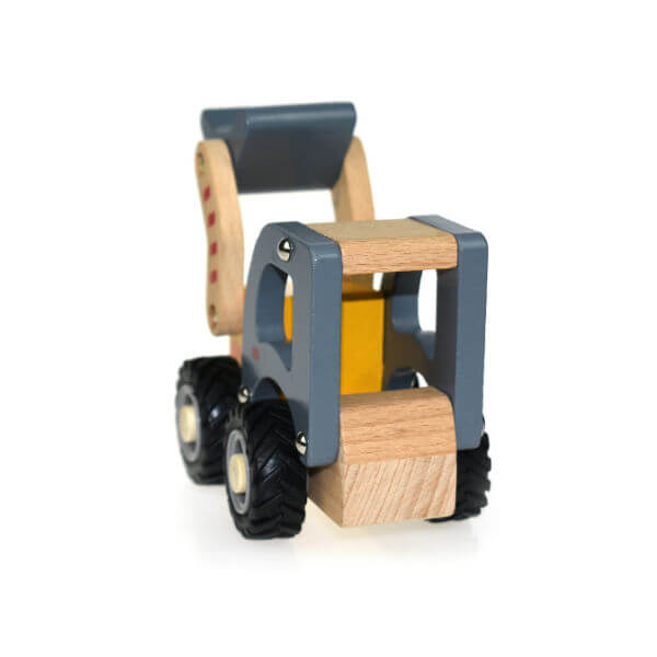 WOODEN BOBCAT WITH RUBBER WHEELS