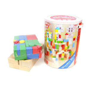 BUCKET OF WOODEN BLOCKS