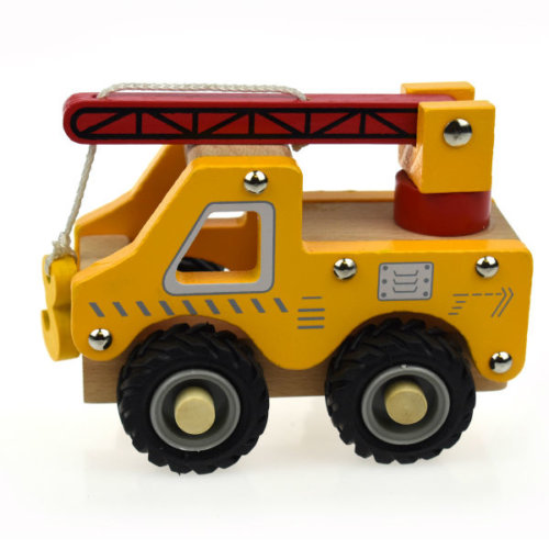 WOODEN CRANE TRUCK WITH RUBBER WHEELS