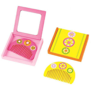 MINI WOODEN COMB AND MIRROR SET