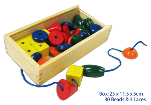 30 Pc Lacing Bead and 3 Pc Wood Set
