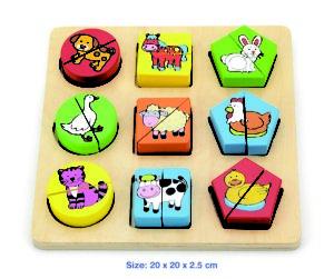 SHAPE BLOCK PUZZLE FARM ANIMALS 18 pc is