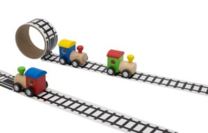 Wooden Train with rail tape