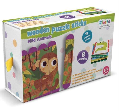 Fiesta Crafts Wooden Puzzle Sticks Wild Animals