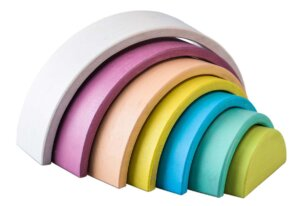 WOODEN STACKING RAINBOW LIGHT PASTEL