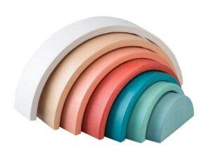 WOODEN STACKING RAINBOW PASTEL TERRACOTTA