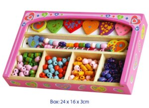 WOODEN BEAD SET IN A PINK BOX