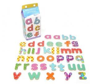 Wooden Magnetic Lower case letters in milk carton