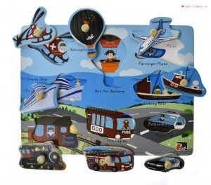 TRANSPORT PEG PUZZLE - BLUE