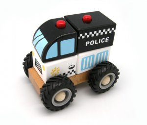 Block Police Car with Rubber Wheels