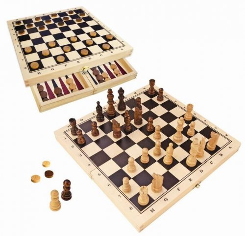 WOODEN CHESS & CHECKERS FOLD UP GAME